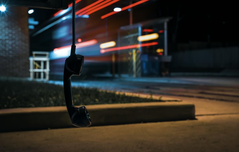 Photo wallpaper night, street, tube, phone