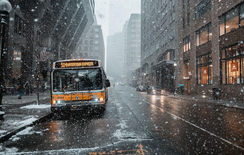 Photo wallpaper snow, house, tree, street, bus