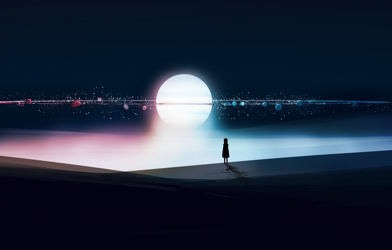 Photo wallpaper night, the moon, fantasy, girl
