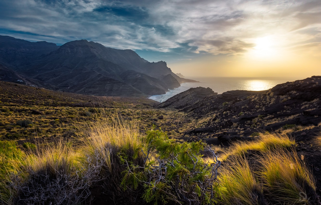 Photo wallpaper grass, landscape, sunset, mountains, nature, the ocean, coast, island, Spain, Canary Islands, The Canary Islands, …