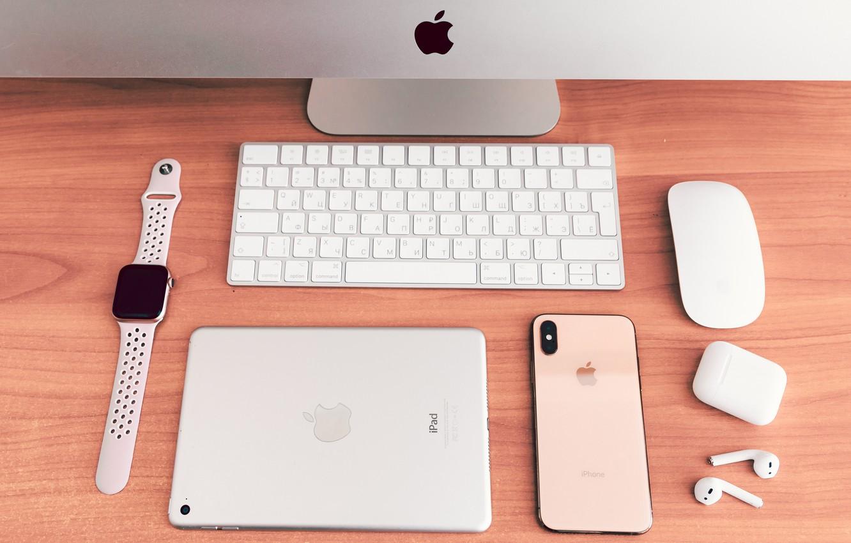 Photo wallpaper computer, apple, headphones, phone, tablet