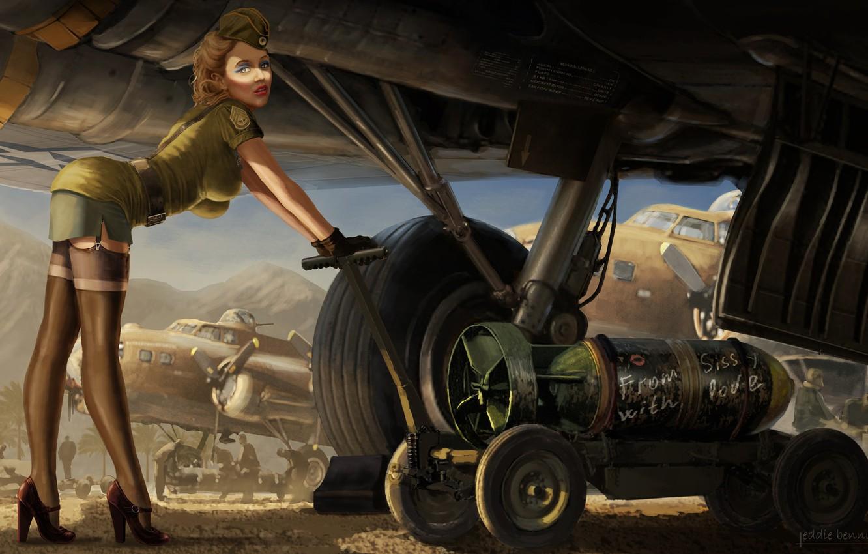 Photo wallpaper Girl, Figure, The plane, Art, Art, Download, Bomb, Sissy, Eddie Bennun, by Eddie Bennun, From …