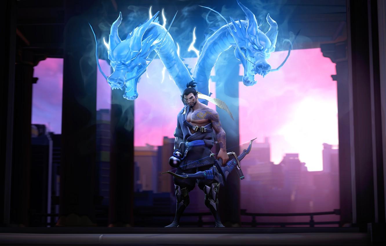 Photo wallpaper bow, Archer, dragon, overwatch, hanzo, Hanzo Shimada