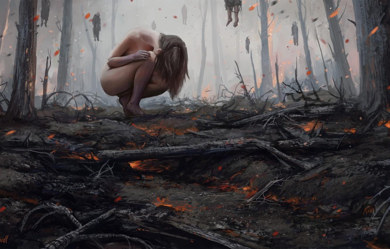 Photo wallpaper Girl, Fire, Forest, Girl, Fantasy, Fire, Art, Illustration, Forest, Ghosts, Souls, Ghosts, Horror, Spirits, Ash, …