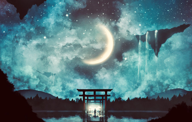 Photo wallpaper water, night, people, fantasy, corridor, Crescent, torii