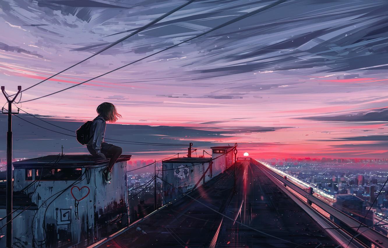 Photo wallpaper Sunset, The sun, The sky, Girl, Sunrise, The city, Girl, Dawn, Girl, City, Landscape, Sky, …