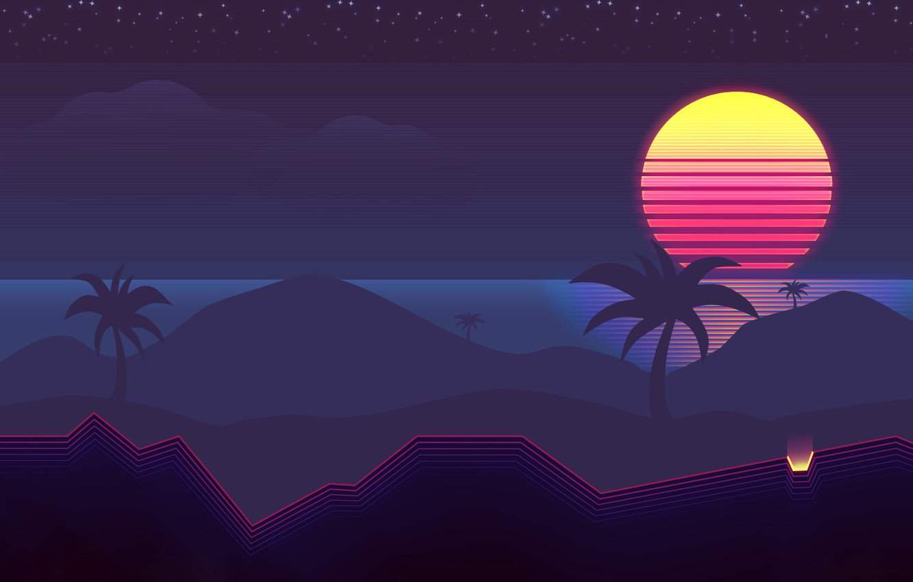 Wallpaper The sun, Music, Palm trees, Background, 80s, Neon, 80's