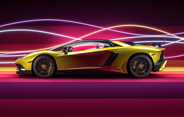 Photo wallpaper Auto, Yellow, Neon, Machine, Auto, Supercar, Machine, Neon, Yellow, Aventador, Supercar, Side View, Sports car, …