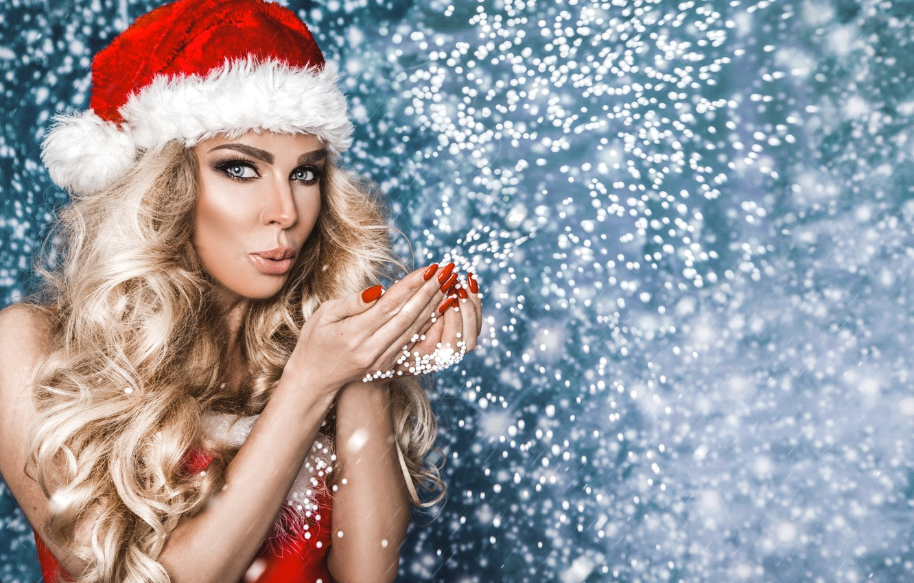 Photo wallpaper girl, holiday, new year, maiden, girl, Christmas, fashion, winter, model, Beauty, model, Martin Krezel