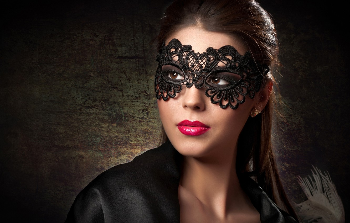 Photo wallpaper look, background, portrait, makeup, mask, hairstyle, brown hair, beauty, in black