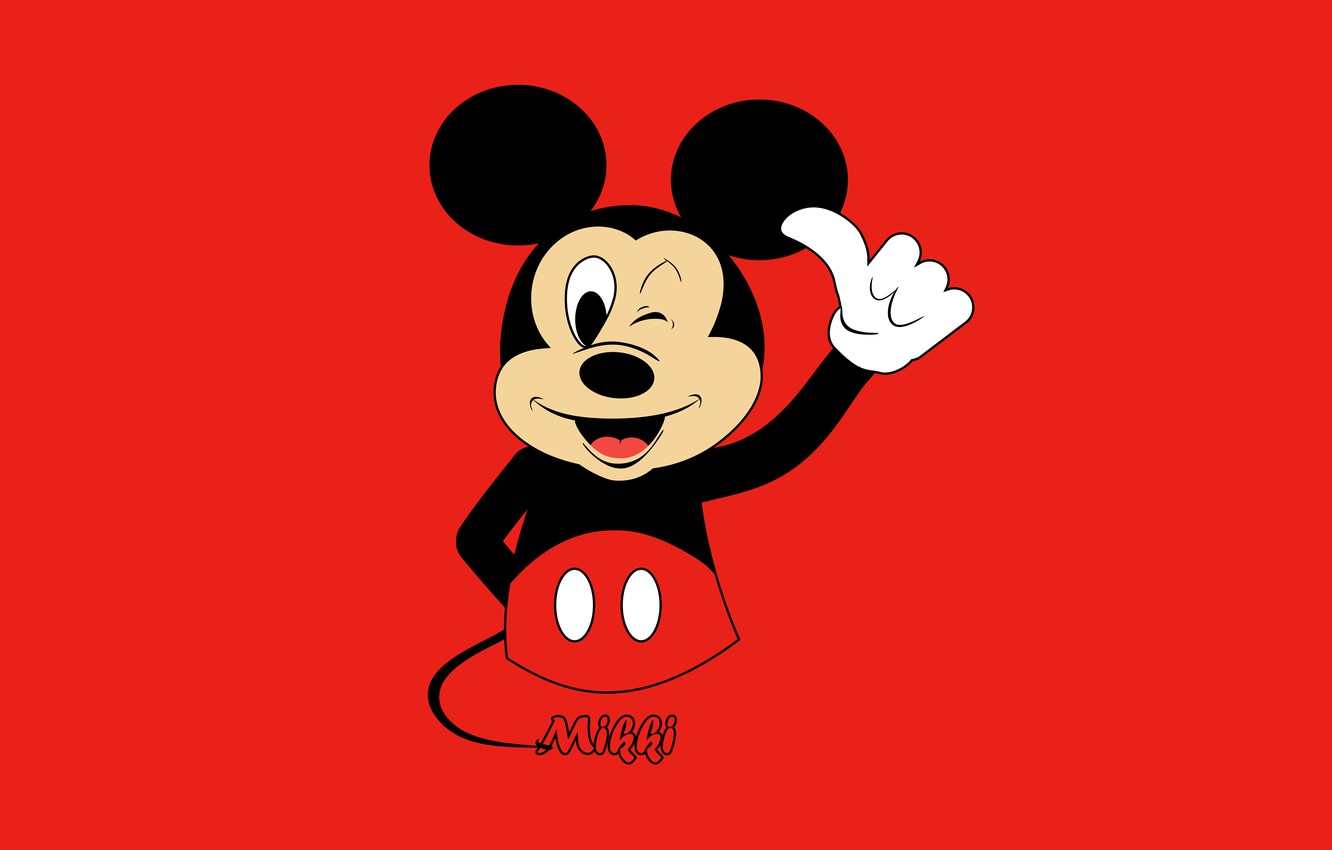 Wallpaper Red Background Cartoon Minimalism Animation Red Super Beautiful Super Toon Animal Multi Disney On The Desktop Mouse Widescreen Hd Wallpapers Images For Desktop Section Minimalizm Download