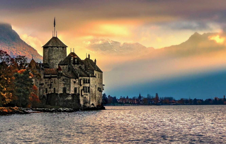 Photo wallpaper landscape, mountains, nature, fog, lake, castle, Switzerland, Lake Geneva, Chillon castle, The castle of Chillon