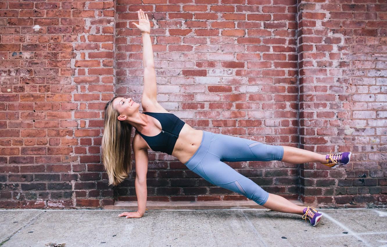 Photo wallpaper wall, blonde, workout, fitness