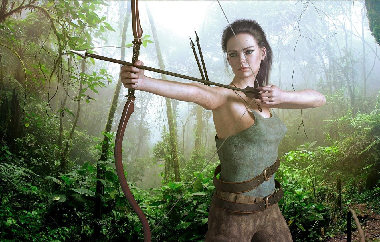 Photo wallpaper girl, bow, jungle
