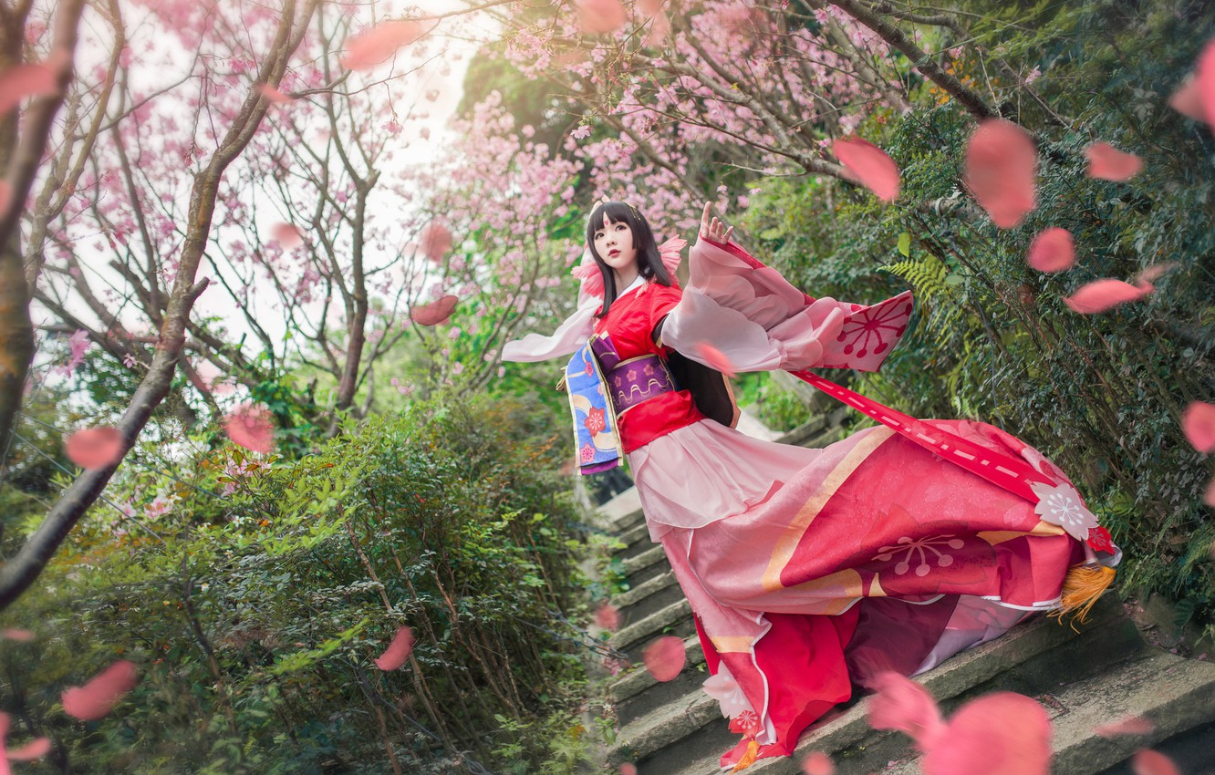 Photo wallpaper greens, look, girl, trees, flowers, branches, red, cherry, pose, style, the wind, red, spring, makeup, …