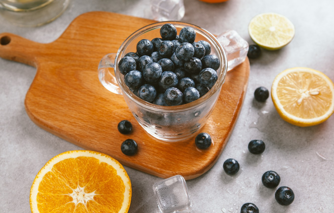 Photo wallpaper berries, orange, ice, blueberries, Cup, lime, ice, fruit, citrus, slices, cup, fruit, orange, lime, citrus, …