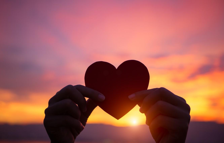 Wallpaper Love Sunset Heart Hands Love Heart Sunset