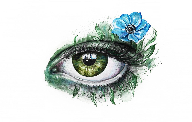 Photo wallpaper flower, look, leaves, green, eyes, eyelashes, blue, figure, graphics, art, white background, painting, anemone, eye, …