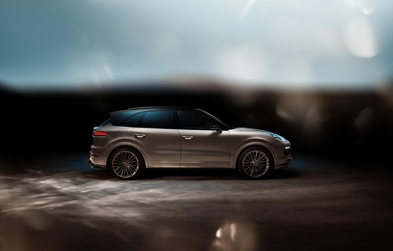 Photo wallpaper Porsche, side view, Turbo, 2018, Cayenne, TechArt