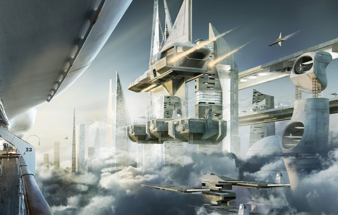 Photo wallpaper clouds, transport, facilities, the spaceport, Skyship cove
