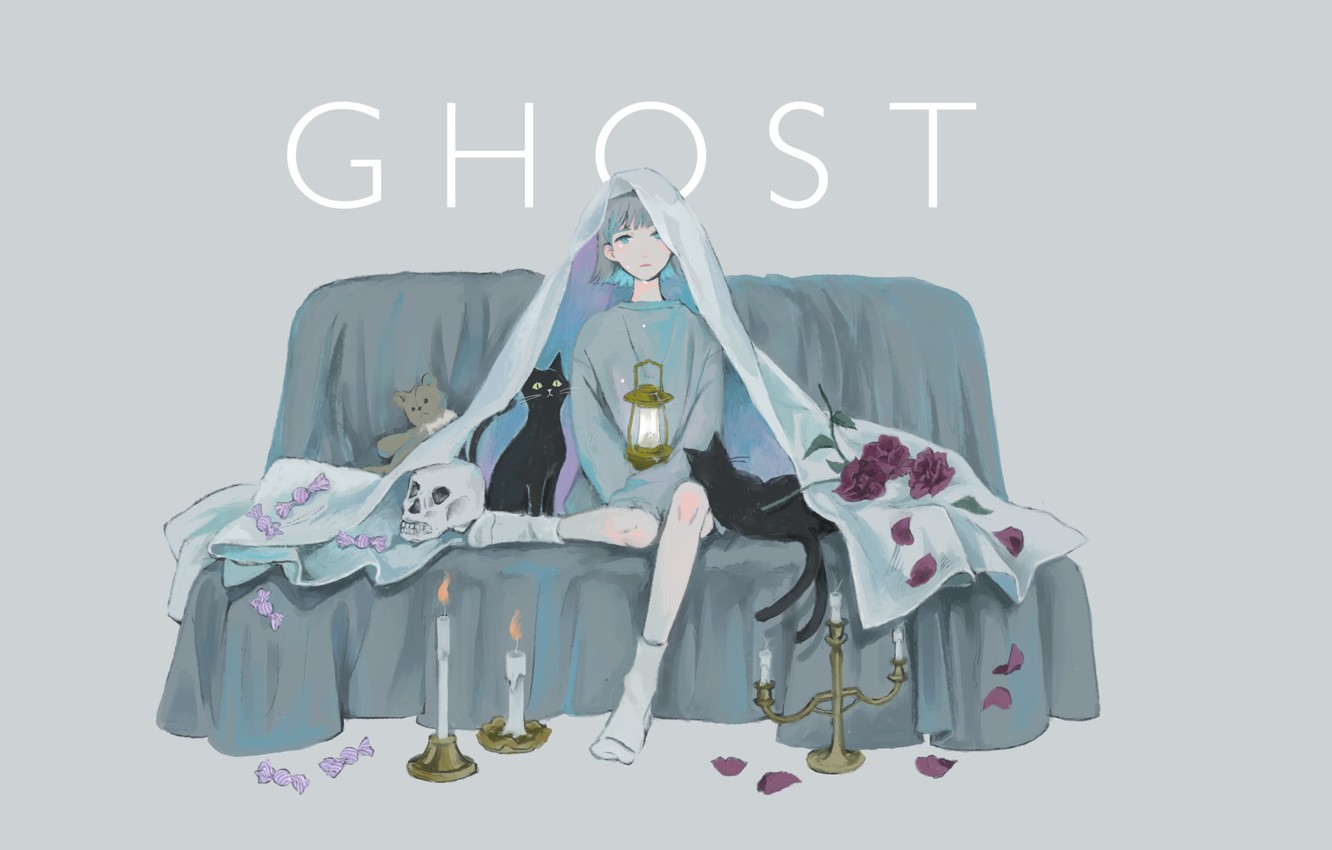 Photo wallpaper skull, candles, lantern, on the couch, the witch, blue hair, two tails, black cat, black …
