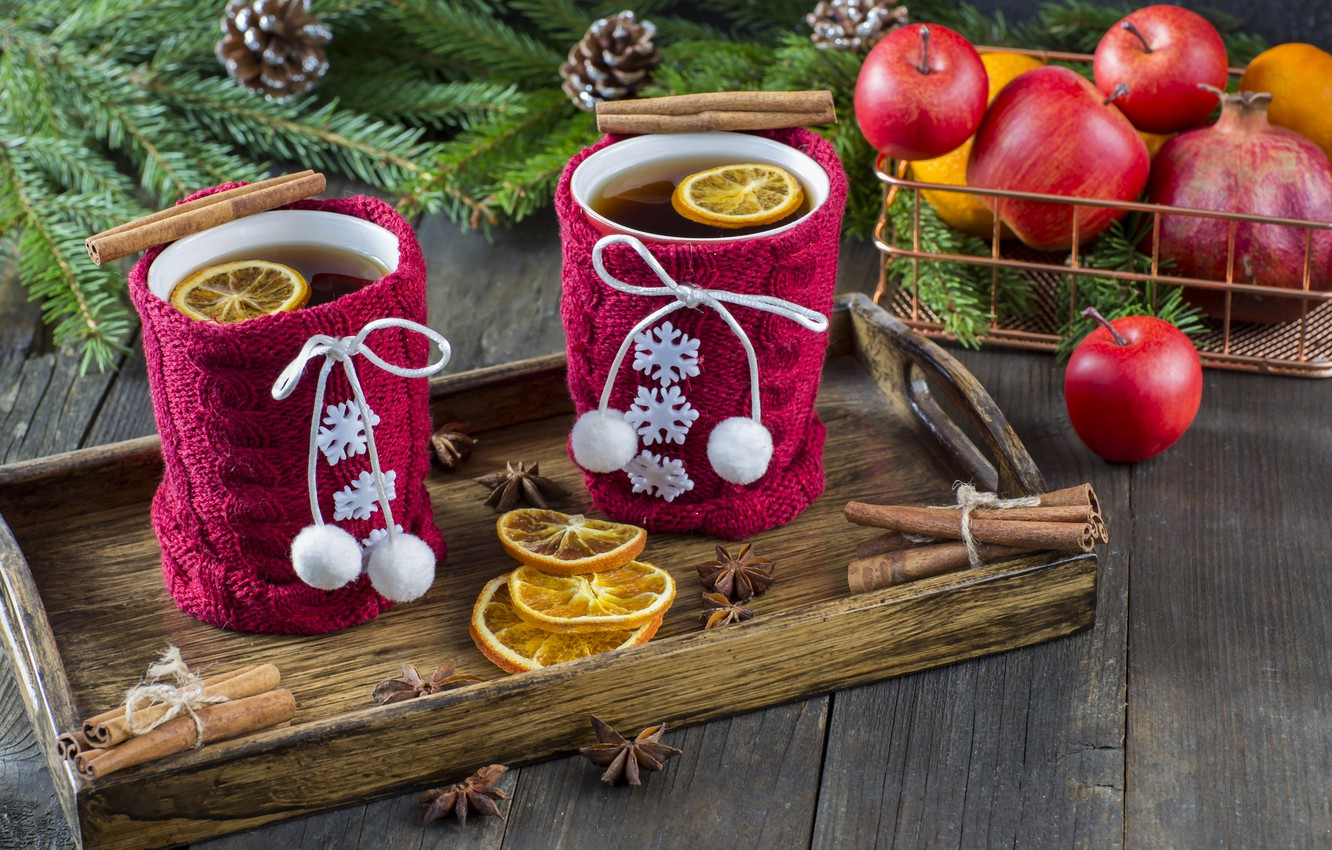 Photo wallpaper snow, decoration, apples, New Year, Christmas, Christmas, snow, cup, New Year, tea, cookies, apples, decoration, …