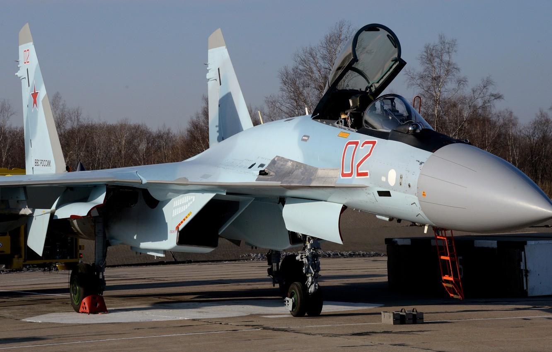 Photo wallpaper fighter, the airfield, Russian, super-maneuverable, Su 35S