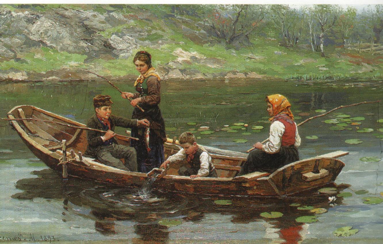 Photo wallpaper children, lake, boat, fishing, EKENAES