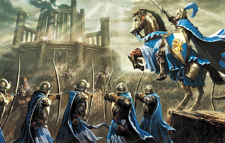 Photo wallpaper sword, fantasy, game, armor, war, army, horse, castle, digital art, artwork, shield, warrior, fantasy art, …
