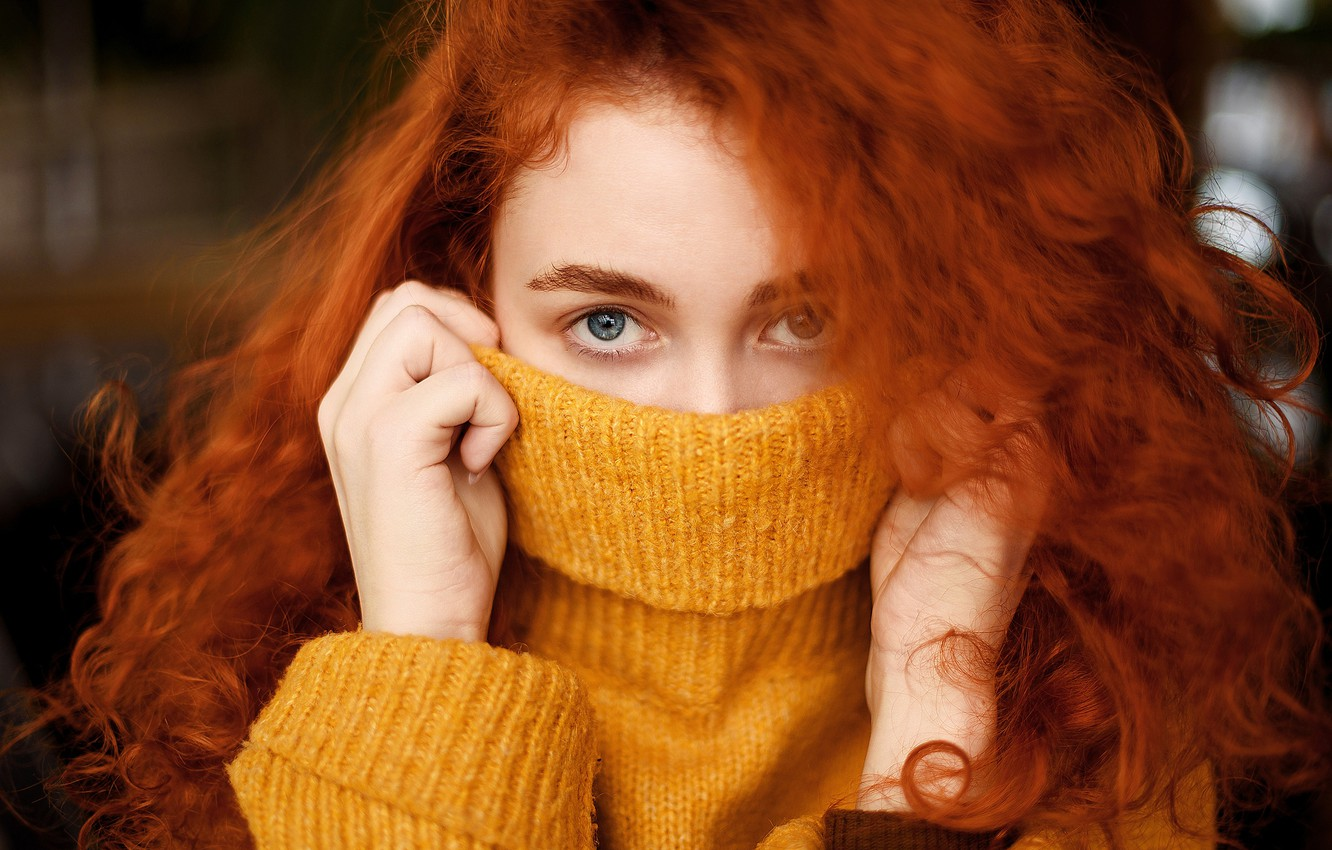 Photo wallpaper look, close-up, face, model, portrait, hands, makeup, hairstyle, redhead, in yellow, sweater, bokeh, covering her …