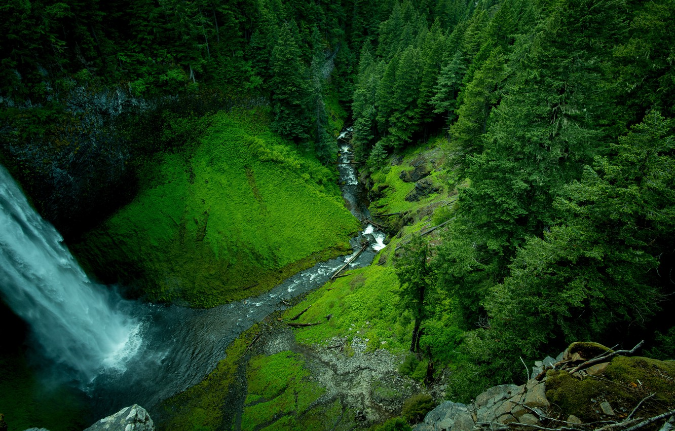 Photo wallpaper forest, mountains, river, photo, waterfall