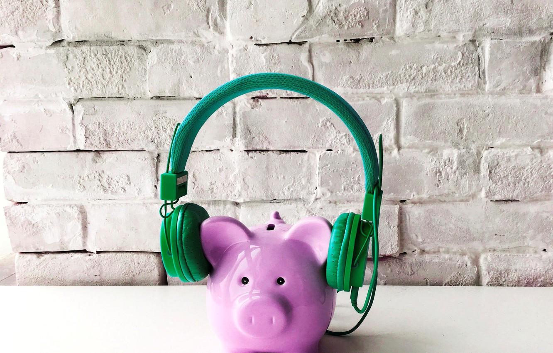 Photo wallpaper piggy, headphones, pig