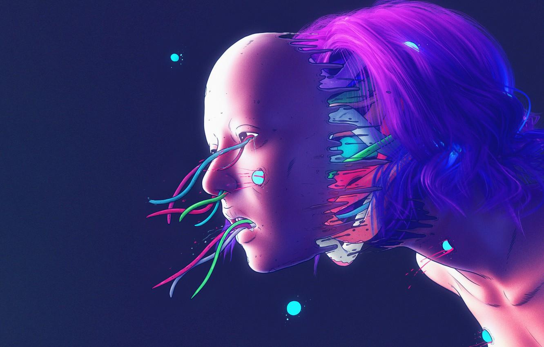 Photo wallpaper Color, Girl, Robot, Wire, Style, Face, Girl, Fur, Fantasy, Robot, Style, Color, Sake, Fiction, Fiction, …