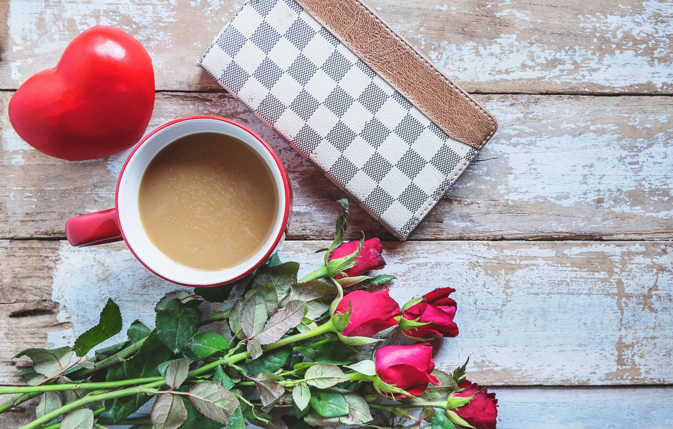 Photo wallpaper love, flowers, roses, bouquet, hearts, red, red, love, flowers, romantic, hearts, coffee cup, valentine's day, …