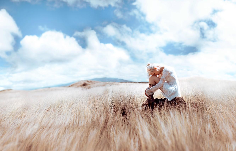Photo wallpaper field, girl, light, style, fantasy, image, sitting, photoart, Kindra Nikole