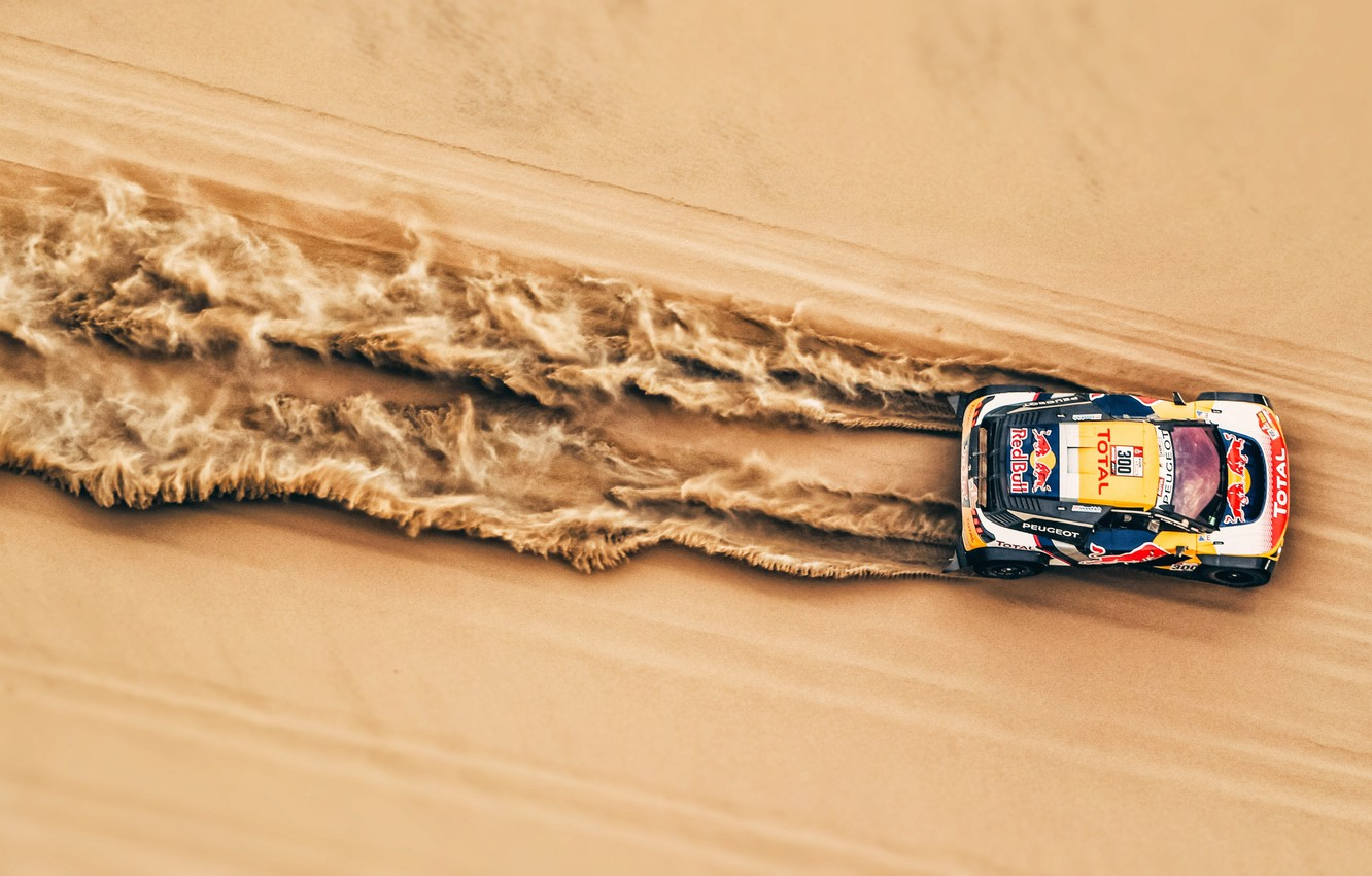 Photo wallpaper Red Bull, sand, Rally