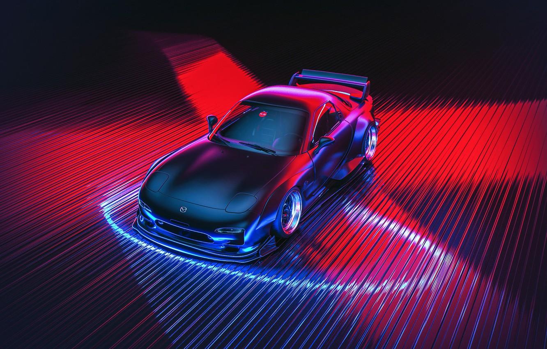 Photo wallpaper Auto, Figure, Neon, Machine, Mazda, Car, Car, Art, Art, Neon, RX-7, Rendering, Mazda rx7, Mazda …