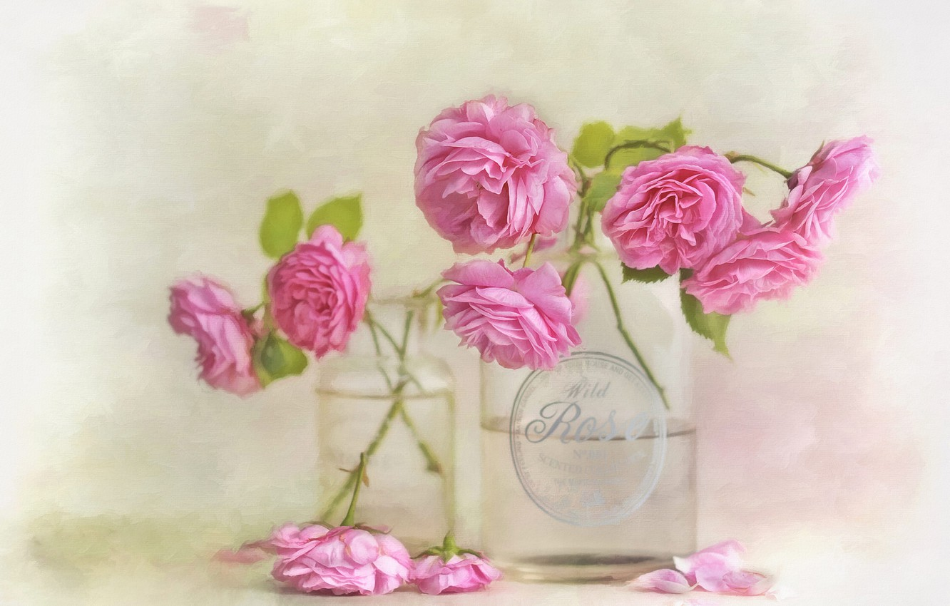 Photo wallpaper glass, flowers, background, roses, bouquet, art, jars, pink, painting, roses, bottle