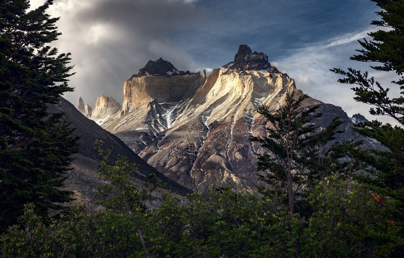Photo wallpaper clouds, mountains, Chile, Patagonia, Torres del Paine
