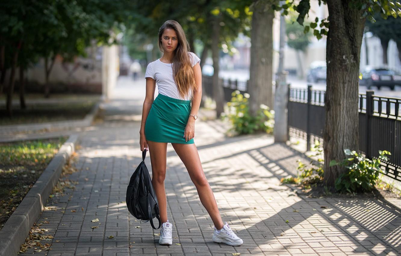 Photo wallpaper girl, legs, trees, photo, photographer, blue eyes, model, bokeh, brunette, urban, t-shirt, skirt, portrait, sneakers, …