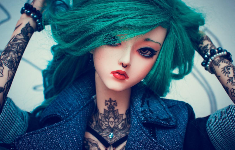 Photo wallpaper girl, face, hair, doll