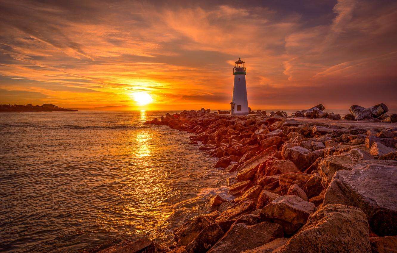 Photo wallpaper sea, sunrise, stones, dawn, lighthouse, morning, CA, California, Santa Cruz, Santa Cruz, Walton Lighthouse, Monterey …