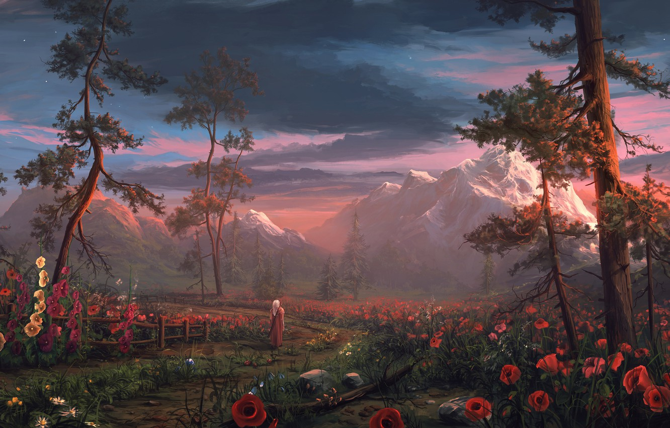 Photo wallpaper trees, flowers, mountains, nature, people, Maki, sword, warrior, fantasy, art, cloak