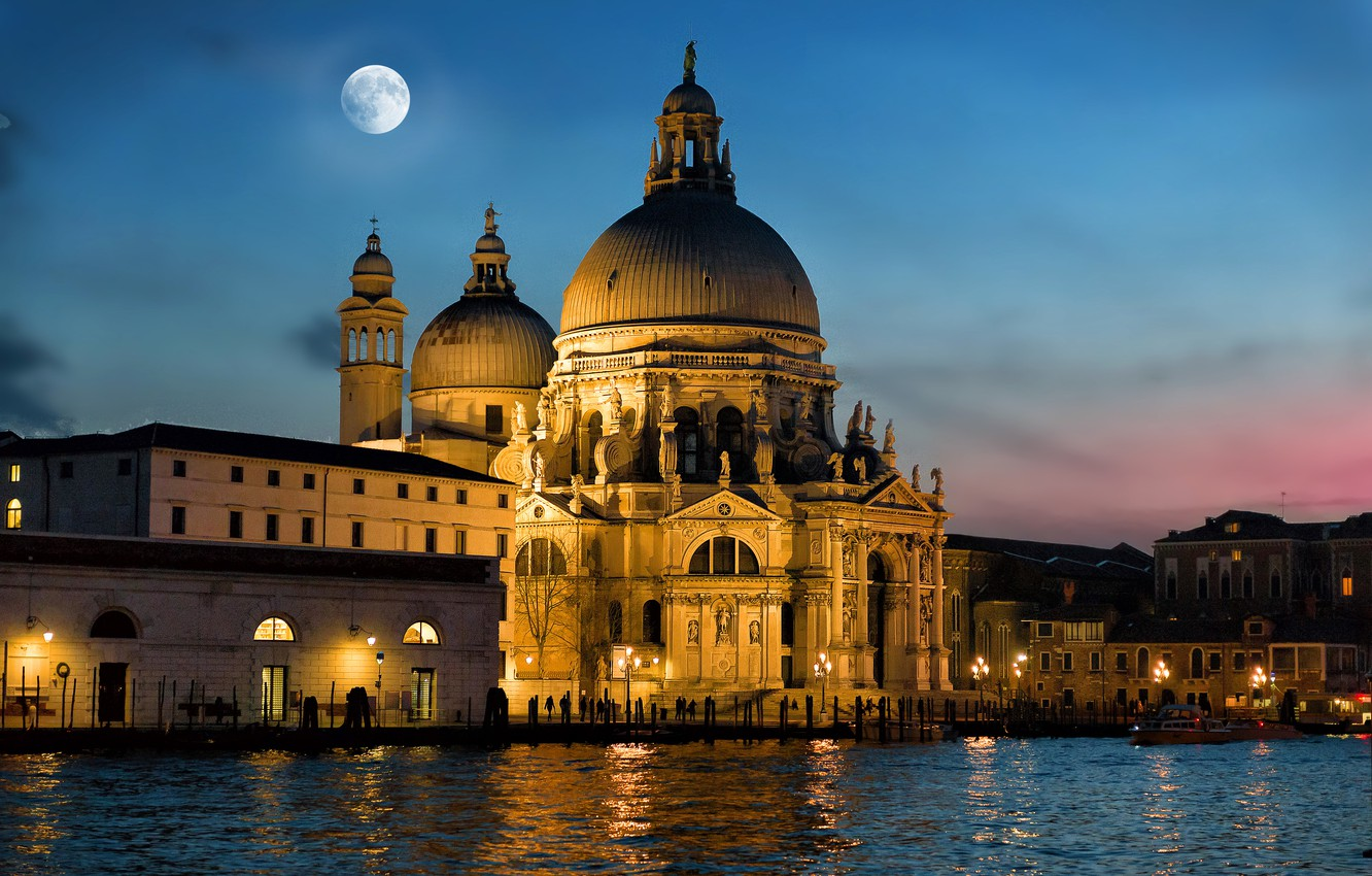 Photo wallpaper night, the city, the moon, lighting, Italy, Venice, Cathedral, architecture, The Grand canal