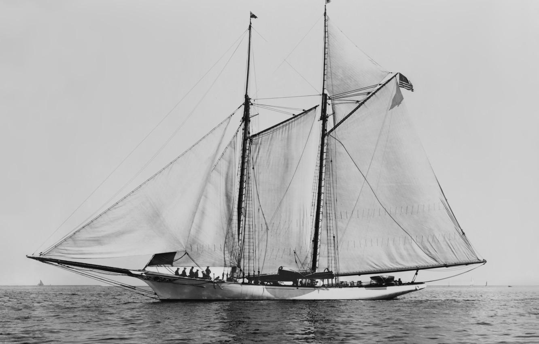 Photo wallpaper retro, America, schooner