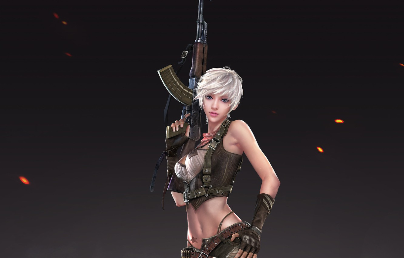 Photo wallpaper look, girl, pose, weapons, background, art, blonde