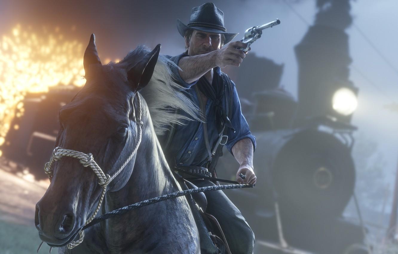 Wallpaper Horse Train Hat Revolver Rockstar Bandit Red Dead