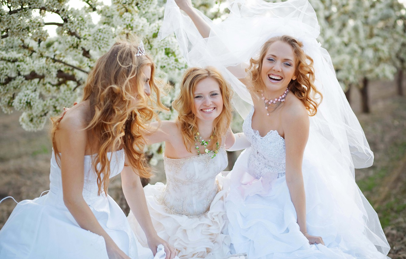 Photo wallpaper decoration, happiness, smile, girls, dress, the bride