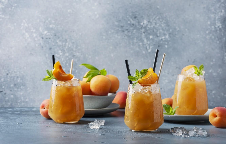Photo wallpaper cocktail, drink, fruit, apricots, apricot, Oxana Denezhkina