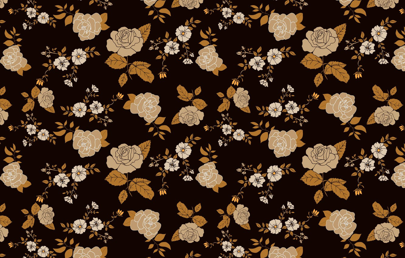 Photo wallpaper flowers, background, roses, brown